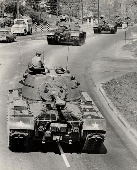 Group of tanks from 2nd Battalion of 102nd Armored Guard, N.J. National Guard on way to firing practice
